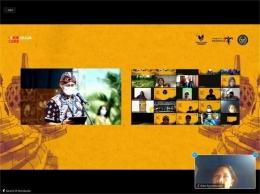Menparekraf Sandiaga Uno membuka Konferensi Internasional Sound of Borobudur Music over Nations secara daring (screen shoot zoom dokumen pribadi)