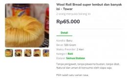Penjualan Wool Rool Bread melalui marketplace