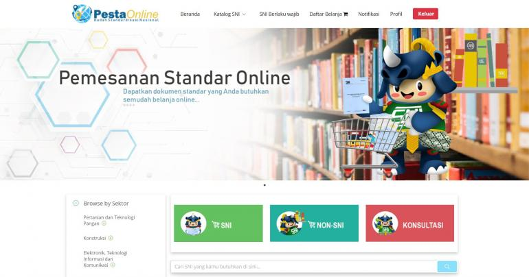 Pesta Online, salah satu layanan BSN untuk mengakses dokumen SNI | Sumber gambar: pesta.bsn.go.id