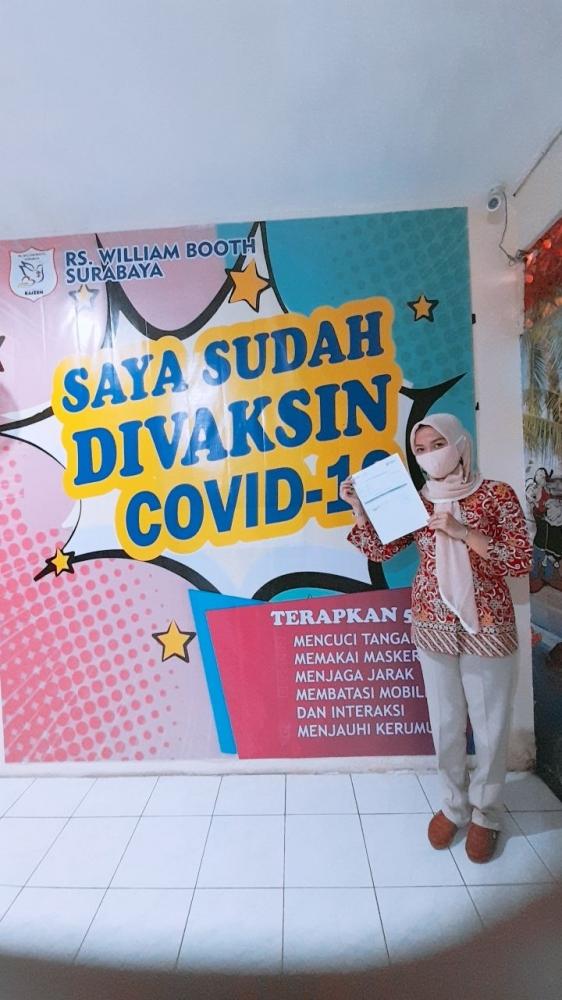 foto selfie setelah vaksin pertama di RS. William Booth, Surabaya. / dokpri