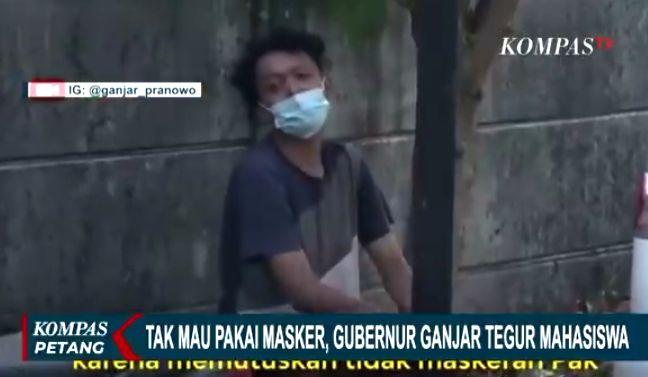 Mahasiswa positif Covid-19 pakai masker setelah dimarahi Gubernur Jateng Ganjar Pranowo (Tangkapan layar kompas.tv 3/7/2021)