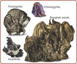 Bongkah perak dan mineral perak. Diadaptasi dari: buku Periodic Table Book - A Visual Encyclopedia, hlm. 84.