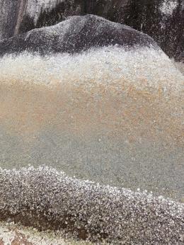 Ilustrasi bagian bawah bebatuan yang terdapat sisa-sisa cangkang hewan laut. (Dokumentasi Pribadi)