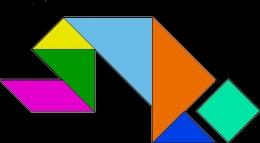 Susunan tangram formasi orang bersujud. Sumber gambar Pixabay.