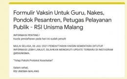 Informasi penutupan pendaftaran vaksin. - Dokumen Pribadi