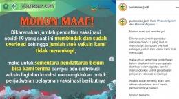 Pengumuman penutupan pendaftaran program vaksinasi. - Dok. Puskesmas Janti Malang