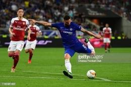 Giroud selalu berusaha menempatkan bola pada posisi tembak sedemikian rupa. Sumber: Chelsea FC via Gettyimages.fr