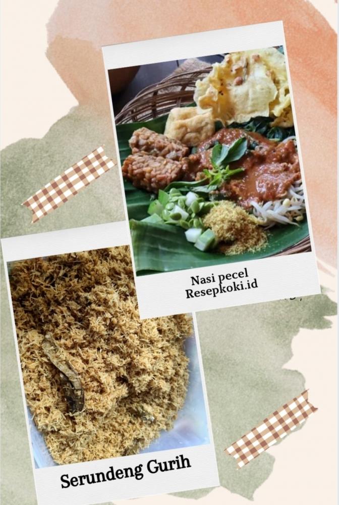 Ilustrasi dari hasil olah canva/foto nasi pecel dari resepkoki.id