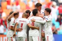 Para pemain Denmark. Denmark akan menghadapi Inggris di semifinal Euro 2020. Sumber foto: Christopher Lee - UEFA via Kompas.com