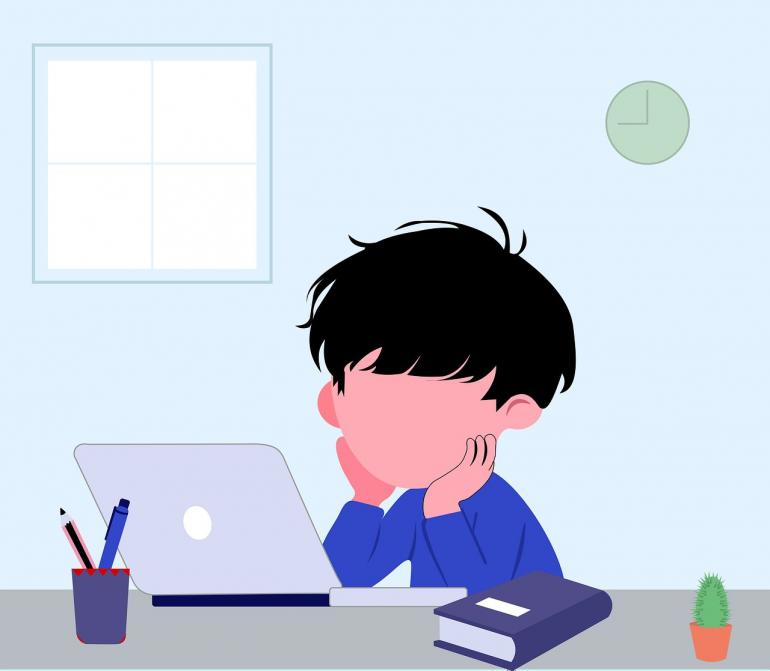 Ilustrasi Anak Belajar Online (sementara),(sumber: kabarbesuki.pikiran-rakyat.com)