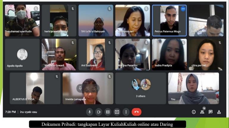 Dokumen Pribadi: tangkapan Layar Kuliah  online atau Daring (Dokpri)
