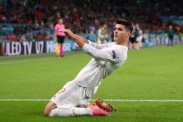 Gol Alvaro Morata bawa Spanyol imbang 1-1. (twitter.com/EURO2020)