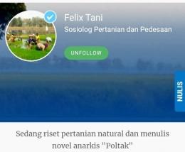 Ilustrasi Laman Akun Felix Tani (sumber gambar: Tangkapan layar akun Felix Tani/Kompasiana))