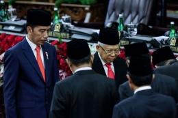 Presiden Jokowi dan Wapres Ma'ruf Amin. Foto: kompas.com