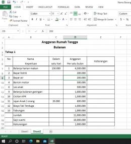 estimasi anggaran belanja rumah tangga/foto Sri Rohmatiah