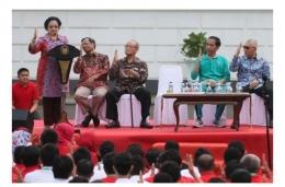 Presiden ke-5 RI Megawati Soekarnoputri saat memperkenalkan Salam Pancasila (nasional.kompas.com)