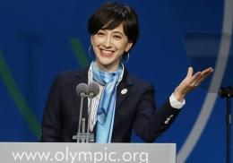 Takigawa Christel saat presentasi utk menjadi host city Olimpiade (AP via biz-journal.jp)