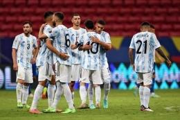Argentina sudah ditempa secara mentalitas sejak awal fase grup Copa America 2021. Sumber: AFP/Evaristo Sa/via Kompas.com