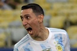 Angel Di Maria menjadi pencetak gol kemenangan Argentina (1-0) di final. Sumber: AFP/Nelson Almeida/via Kompas.com