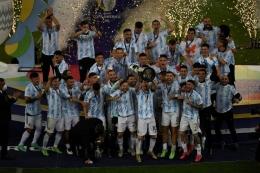 Argentina menjuarai Copa America 2021. Sumber: MAURO PIMENTEL/via Kompas.com