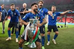 Lorenzo Insigne dkk merayakan gelar juara Euro 2020. Italia tampil sebagai juara Piala Eropa usai mengalahkan Inggris lewat adu penalti 3-2 (1-1) di Stadion Wembley, Senin (12/7) | Foto: Reuters