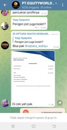 tangkapan layar telegram