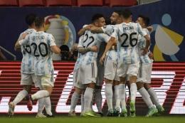 Argentina menjadi tim yang membawa banyak pemain muda potensial di Copa America 2021. Sumber: AFP/Nelson Almeida/via Kompas.com