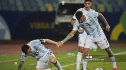 De Paul (kanan) tampil oke di Copa America 2021. Sumber: AFP/Nelson Almeida/via Tribunnews.com