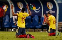 Yerry Mina menjadi andalan di lini belakang Kolombia. Sumber: AFP/via Mediaindonesia.com