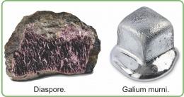 Bijih Diaspore dan Galium murni. Diadaptasi dari buku: Periodic Table Book - A Visual Encyclopedia, hlm. 136.