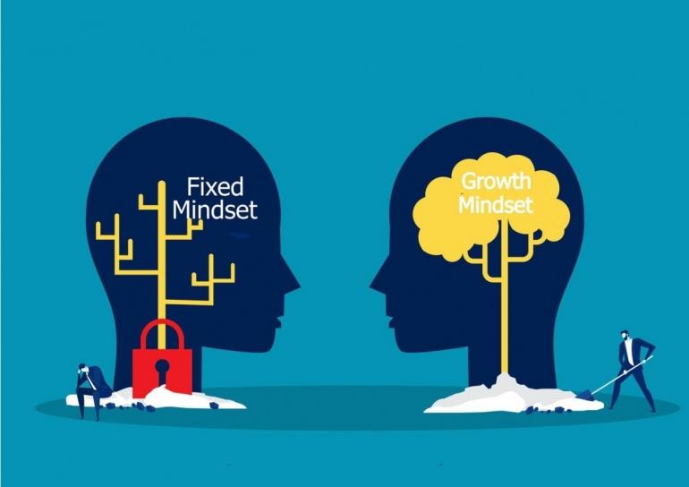 Ilustrasi fixed mindset dan growth mindset. Sumber: stockadobe.com