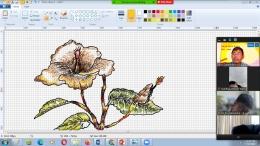 penulis dalam pembelajaran zoom, memberi contoh menggambar dengan drawing pad di share screen (Dokpri)
