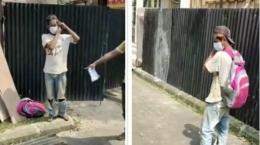 Tangkapan layar video viral pekerja bangunan dipecat karena melepas masker saat minum (tribunnews.com).
