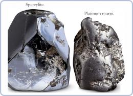 Mineral Sperrylite dan Platinum murni. Diadaptasi dari: buku Periodic Table Book - A Visual Encyclopedia, hlm. 94.