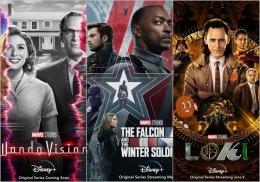 WandaVision, Falcon and the Winter Soldier, dan Loki | sumber: DeskJabar, CNBC, dan Loyola Maroon; diolah pribadi