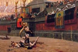Lukisan gladiator dan kode jempol ke bawah karya Gerome. Sumber: phxart.org / wikimedia