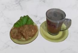 Ilustrasi gambar Wedang Bajigur Bersanding Gorengan Jamur, Remove dokpri Yuli
