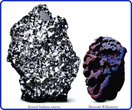 Kristal Iridium murni dan Meteorit Willamette. Diadaptasi dari: buku Periodic Table Book - A Visual Encyclopedia, hlm. 92.