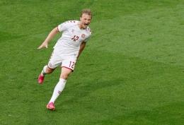 Kasper Dolberg, striker andalan timnas Denmark. (via Reuters.com)