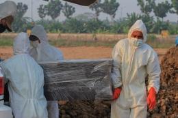Petugas memakamkan peti jenazah korban Covid-19 di TPU Rorotan Cilincing, Jakarta Utara, Minggu (18/7/2021). (Jonas/Mahasiswa)