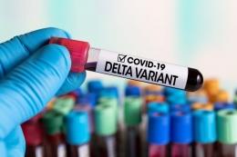 Ilustrasi varian virus corona Delta. Varian ini pertama kali diidentifikasi di India, sebelumnya dinamai B.1.617.2. Virus corona varian Delta. (sumber: Shutterstock/angellodeco via kompas.com)