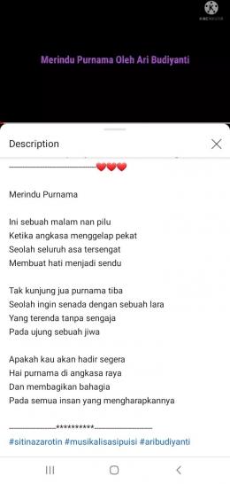 Puisi Merindu Purnama hasil tangkap layar youtube mbak Siti Nazarotin (dokpri)