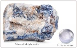 Mineral Molybdenite dan Renium murni. Diadaptasi dari buku: Periodic Table Book - A Visual Encyclopedia, hlm. 90.