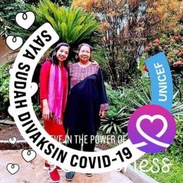 Foto penulis bersama Mama yang selalu mendukung kegiatan literasi (dokpri edited on facebook)