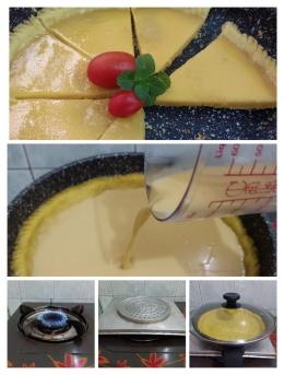 Ilustrasi cara memasak pie di atas kompor, intinya diusahakan jangan sampai tersentuh api secara langsung dan gunakan api paling kecil. (Dokumentasi pribadi)