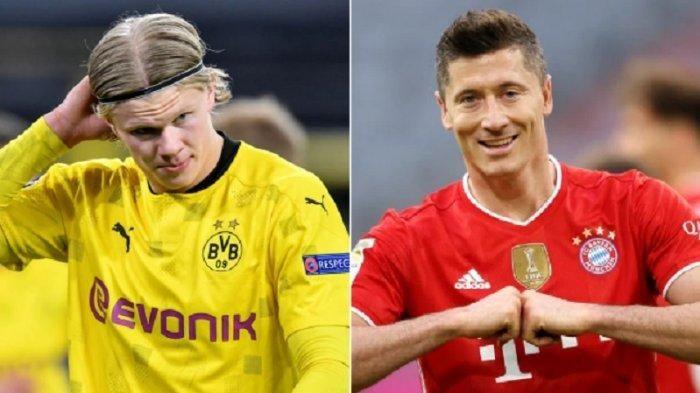 Dua pemain incaran Chelsea, Erling Haaland dan Robert Lewandowski (sumber: lampung.tribunnews.com)