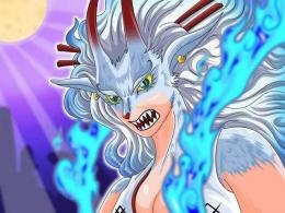 Yamato dalam mode hybrid buah iblis serigala miliknya, di manga One Piece 1020. (Sumber: opfanpage.com)