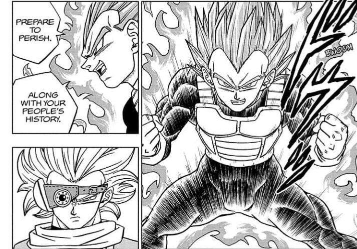 Salah satu cuplikan Vegeta melawan Granolah dalam manga Dragon Ball Super Chapter 74. Via tangkap layar (mangaplus.shuiesha.jp)