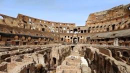 Ruang bawah tanah Colosseum yg direstorasi dari dana sponsor Tod's. Sumber: Getty/www.cntraveler.com