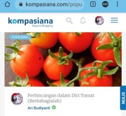 Dokpri tangkap layar Kompasiana Puisi Hati Ari Budiyanti tentang Tomat